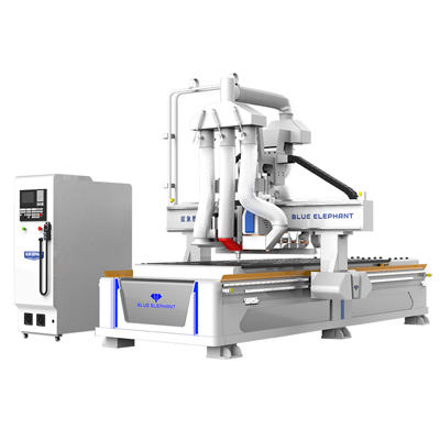 Nesting CNC router with row drill